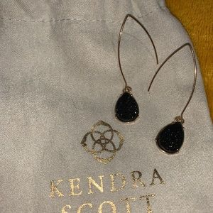 black drusy kendra scott drop earrings